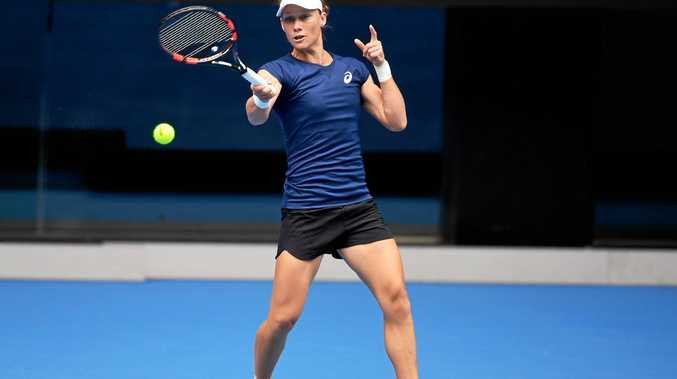 Samantha Stosur during a practice session at the Australian Open in Melbourne.