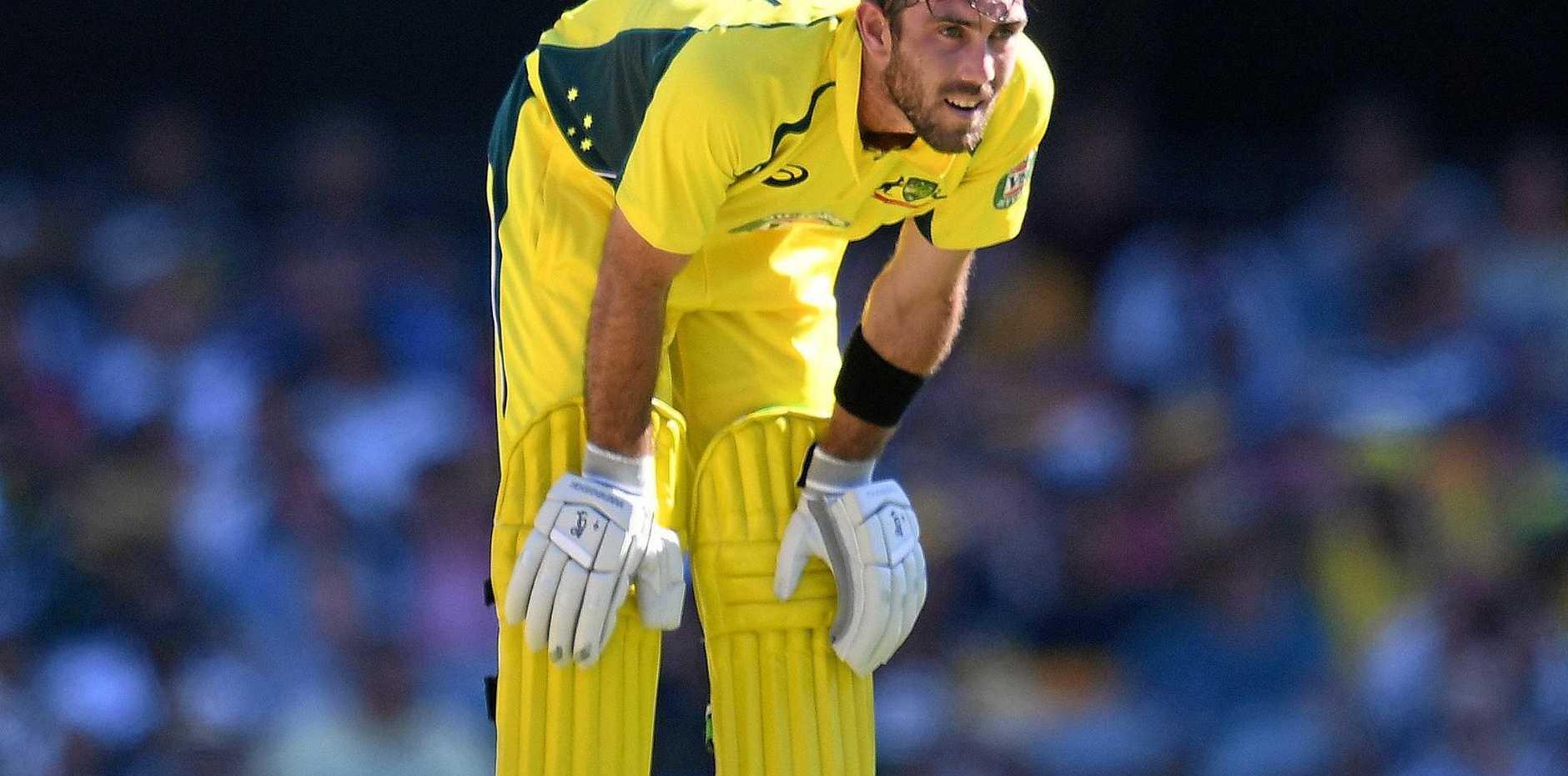 Australian batsman Glenn Maxwell during the one-day international against Pakistan at the Gabba.