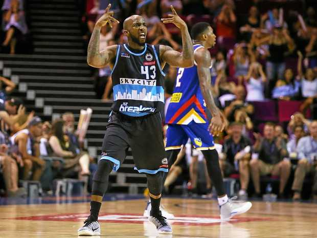 BRISBANE, AUSTRALIA - JANUARY 15:  Kevin Dillard of the Breakers celebrates winning the round 15 NBL match between the Brisbane Bullets and the New Zealand Breakers at Brisbane Convention & Exhibition Centre on January 15, 2017 in Brisbane, Australia.  (Photo by Chris Hyde/Getty Images)
