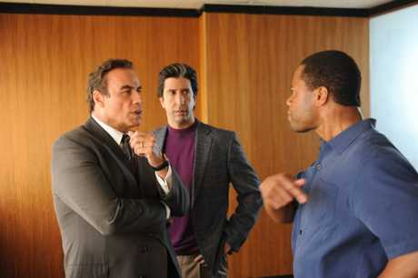 John Travolta, David Schwimmer and Cuba Gooding, Jr in a scene from the TV series The People V OJ Simpson: American Crime Story.
