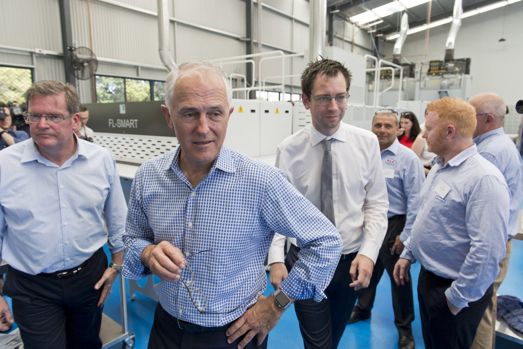 Malcolm Turnbull tours Vanguard Laundry Service with Groom MP John McVeigh and Toowoomba Clubhouse' Luke Terry.