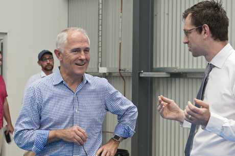 Prime Minister Malcolm Turbull chats with Toowoomba Clubhouse executive director Luke Terry at the opening of Vanguard Laundry Services on a recent visit to Toowoomba.