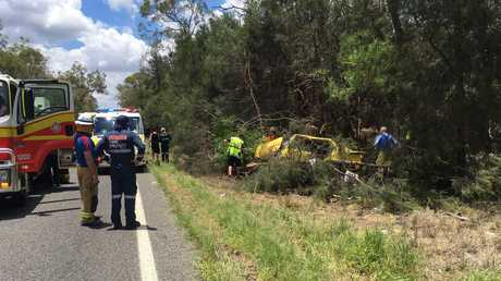 RACQ LifeFlight crews at the scene of the single-vehicle crash west of Dalby on the Moonie Hwy.
