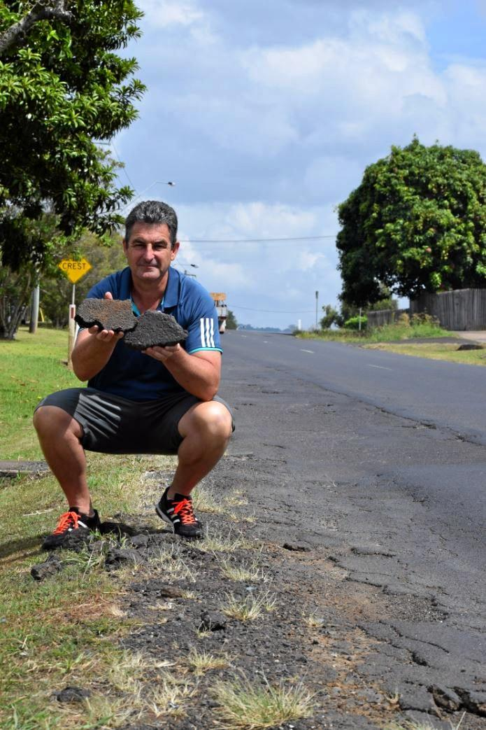 UNSATISFACTORY: Wyrallah Rd resident, Mark Thompson is calling on Lismore City Council to fix a deteriorated stretch of the street.