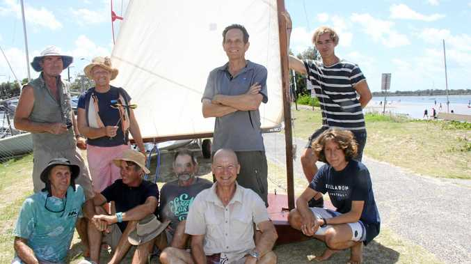 Members of the Richmond River Rowing & Sailing Club admire Mark Pierce's boat Northbridge Junior, ahead of the 2017 Wooden Boat Festival on Australia Day. Back row, from left, is Mark Pierce, Jacqueline Heap, Commodore Phil Robbins and James Kalaf. At front, from left, is Tony Pullyn, George Renault, David Bowler, Geoff Benson and Maurice Renault.