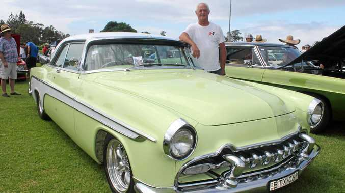 ALL ABOUT STYLE: Damien Veness, from Boat Harbour, with his 1955 DeSoto which he showed at the North Coast Street Machine's Show and Shine in Ballina last Sunday.
