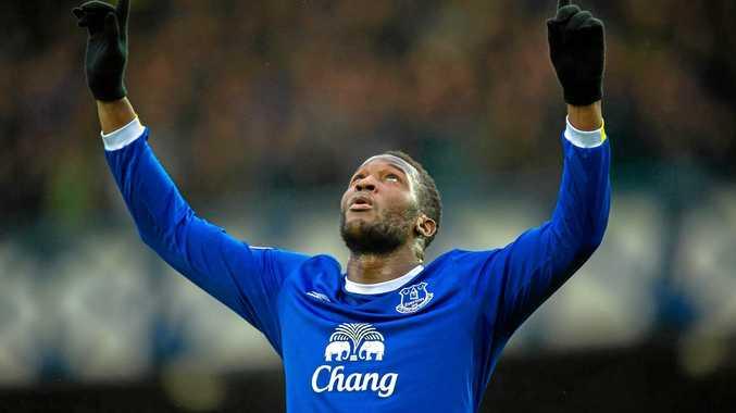 Everton's Romelu Lukaku celebrates after against Manchester City.
