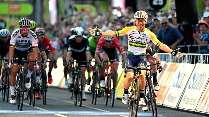 Caleb Ewan of team Orica-Scott (right) celebrates winning the People's Choice Classic ahead of world champion Peter Sagan.