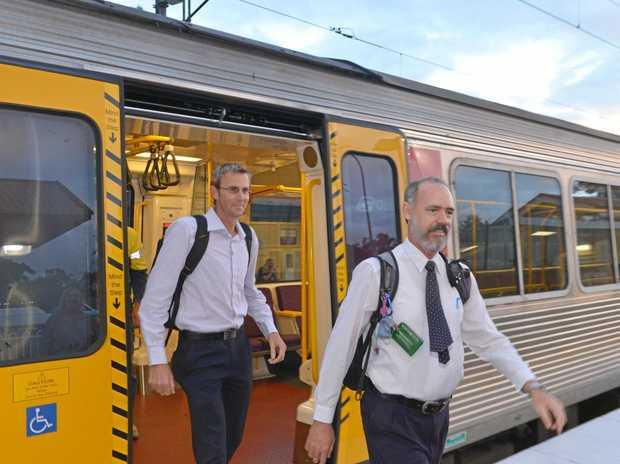 Sunshine Coast commuters Kieron Wallace and Jeff Addison have campaigned long and hard for rail duplication. Photo: John McCutcheon / Sunshine Coast Daily