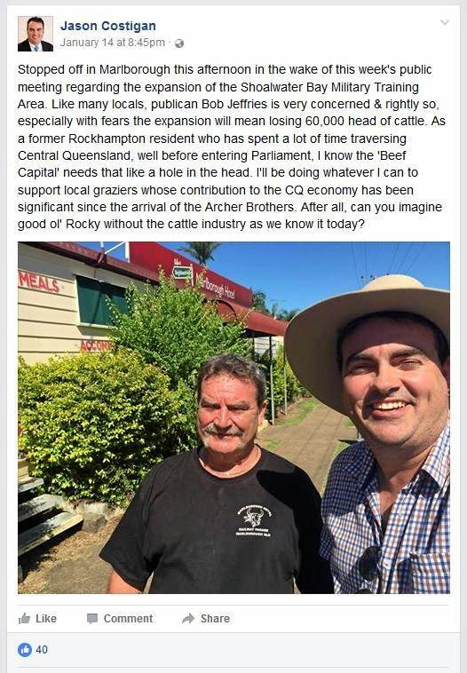 Member for Whitsunday Jason Costigan's Facebook post.