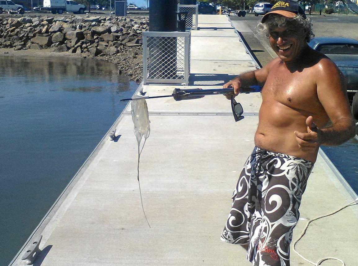 Steve Barlow with the 'box jellyfish' like creature caught off Mooloolaba.