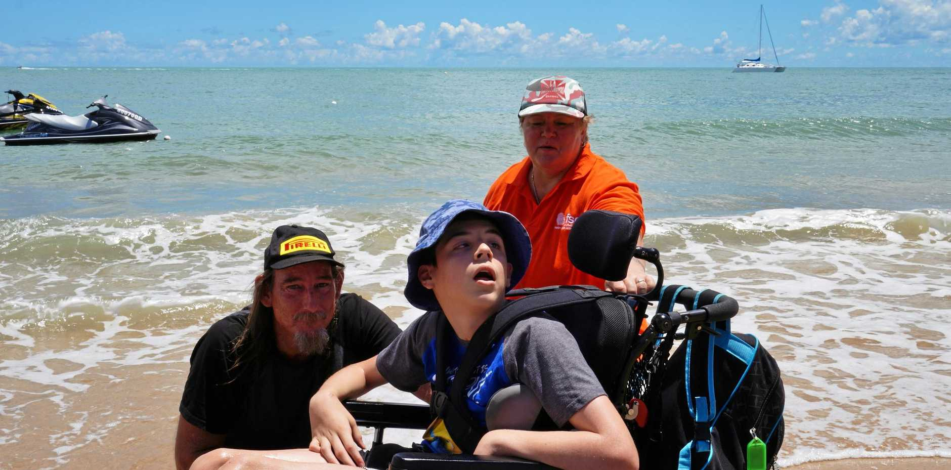 Cameron D'Amico was one of the first to officially trial the Mobi-Mat beach access mat on Monday morning, with the structure soon to be a permanent part of the Fraser Coast.