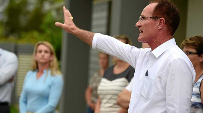 ONE Nation defector Steve Dickson the Member for Buderim, speaks to angry Brightwater residents in 2015 protesting the proposed allignment of the Mooloolah River Interchange. Mr Dickson has promised a One Nation government would build the interchange. Photo: Iain Curry / Sunshine Coast Daily
