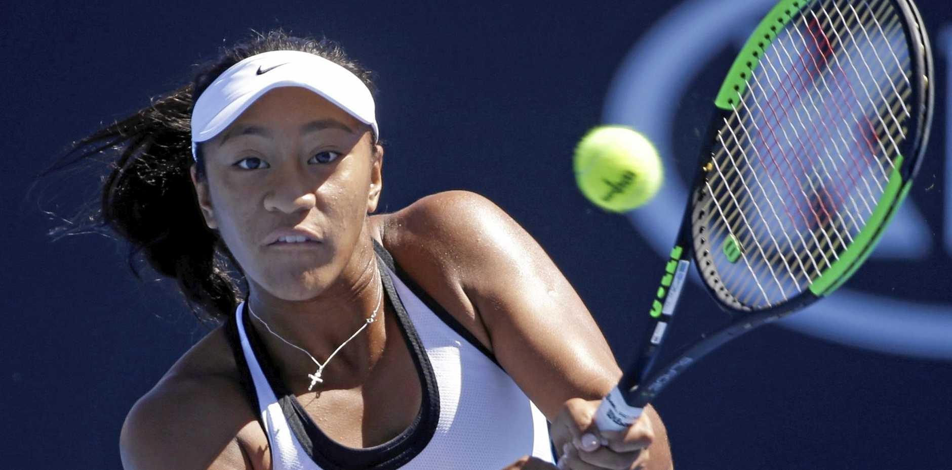 Australia's Destanee Aiava in action in her first-round defeat.