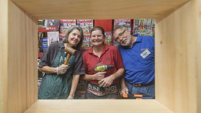 HIVE OF ACTIVITY: Clarence Native Bees organiser Laura Noble, Toni Kearney from Bunnings and Clarence River U3a's Men's Shed's Brent Walsh get together to help build native stingless bee boxes at day at Bunnings
