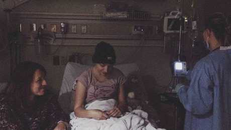 Ruby in hospital during a chemo treatment.