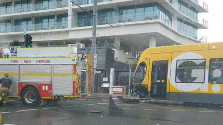 John Zappa snapped this pic of a crash between a fire truck and a tram on the Gold Coast in Surfers Paradise.
