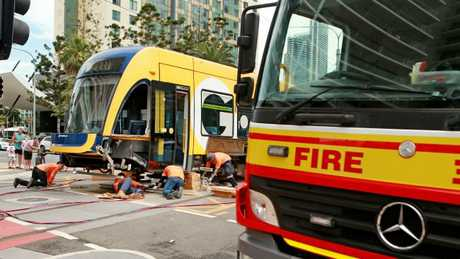 A Gold Coast tram was knocked off its tracks following a collision with a fire truck on the corner of Surfers Paradise Blvd and Hamilton Ave early on Sunday morning.