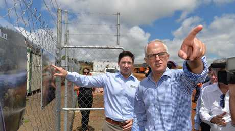 Prime Minister Malcolm Turbull and Nexus Infrastructure chief executive officer John Hagan at the Toowoomba Second Range Crossing site.