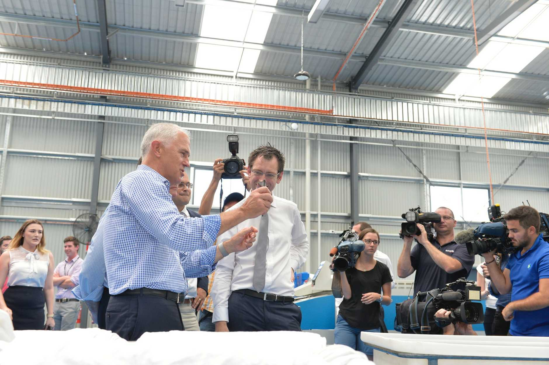 Prime Minister Malcolm Turnbull at Vanguard Laundry.