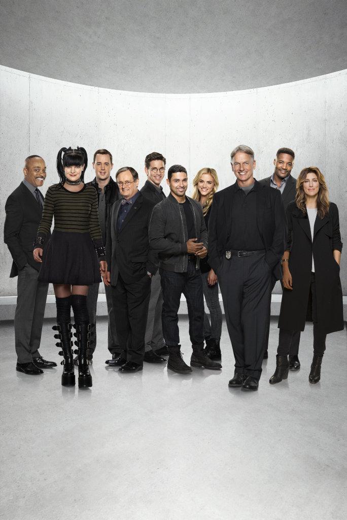 The new cast of NCIS, from left, Rocky Carroll, Pauley Perrette, Sean Murray, David McCallum, Brian Dietzen, Wilmer Valderrama, Emily Wickersham, Mark Harmon, Duane Henry and Jennifer Esposito.