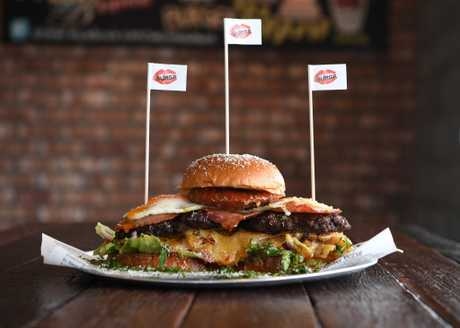 The boom burger is a massive feast.