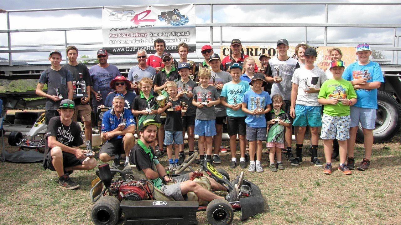 CELEBRATIONS: Members of the Lockyer Dirt Track Kart Club at their final meeting of 2016 in December.