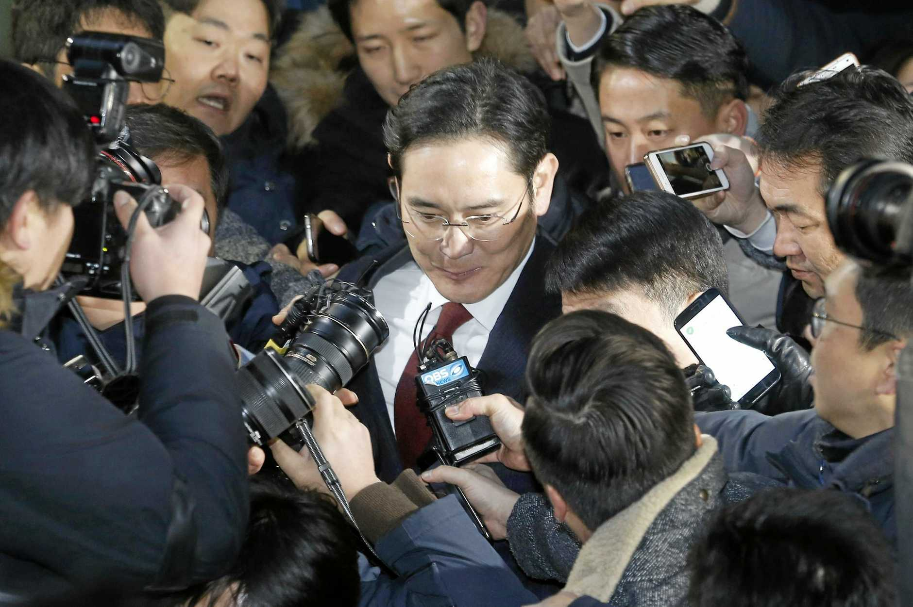 Lee Jae-yong, head of Samsung Electronics, leaves the office of the independent counsel in Seoul, South Korea, last Friday.