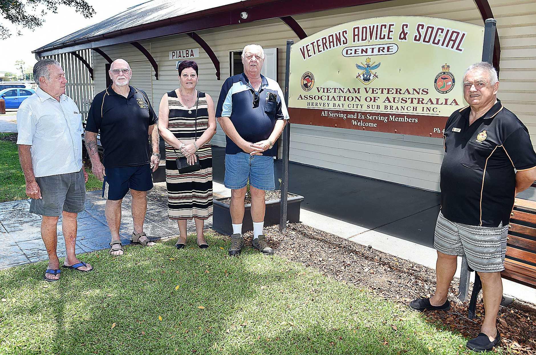 VVAF members Trevor Hill, Barry English, Tess Dulka, Garry Forster and Bob Taylor of Vietnam Veterans Assoc.