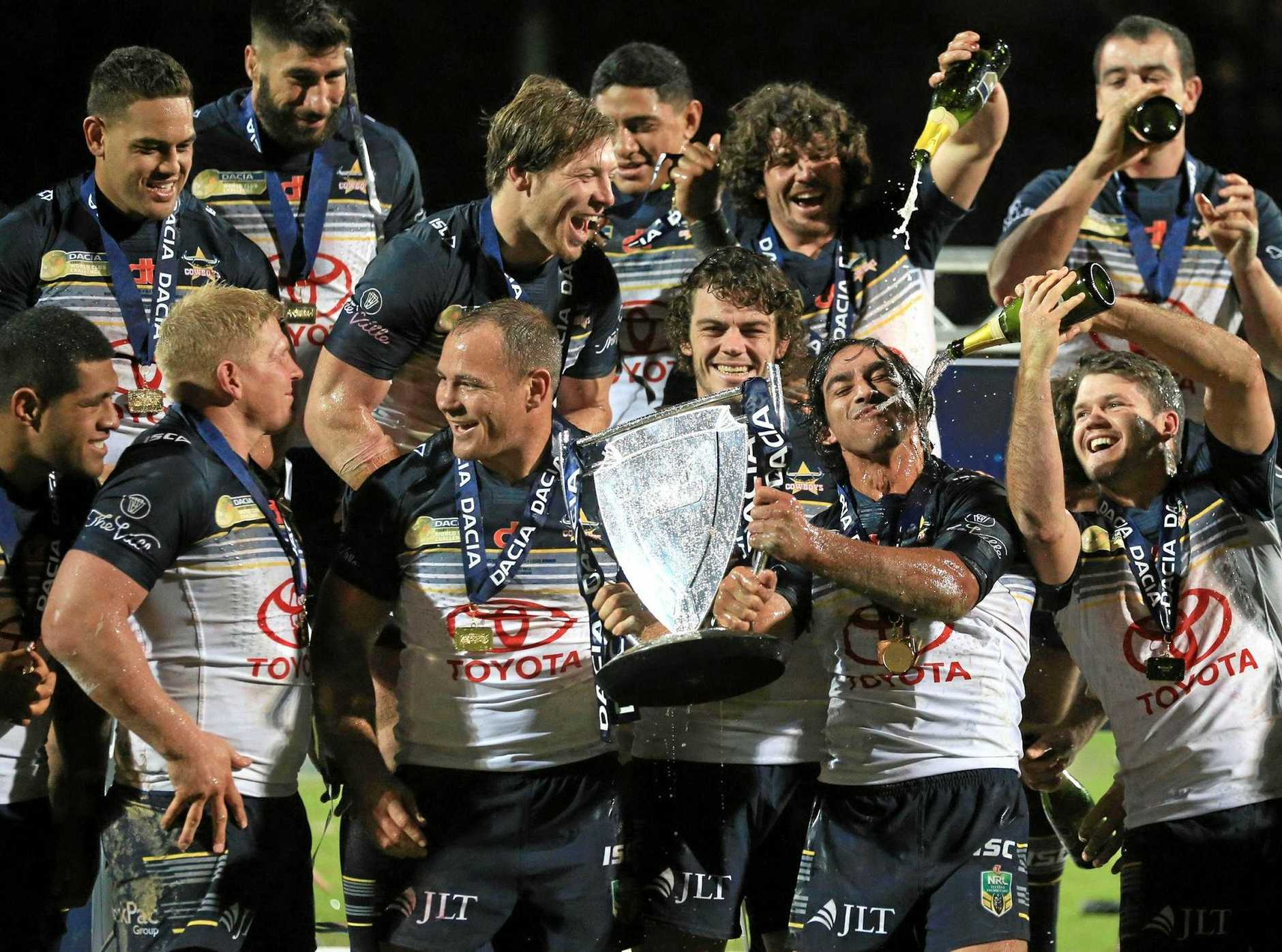 WORLD'S BEST: The North Queensland Cowboys celebrate after defeating the Leeds Rhinos 38-4 in last year's World Club Series.