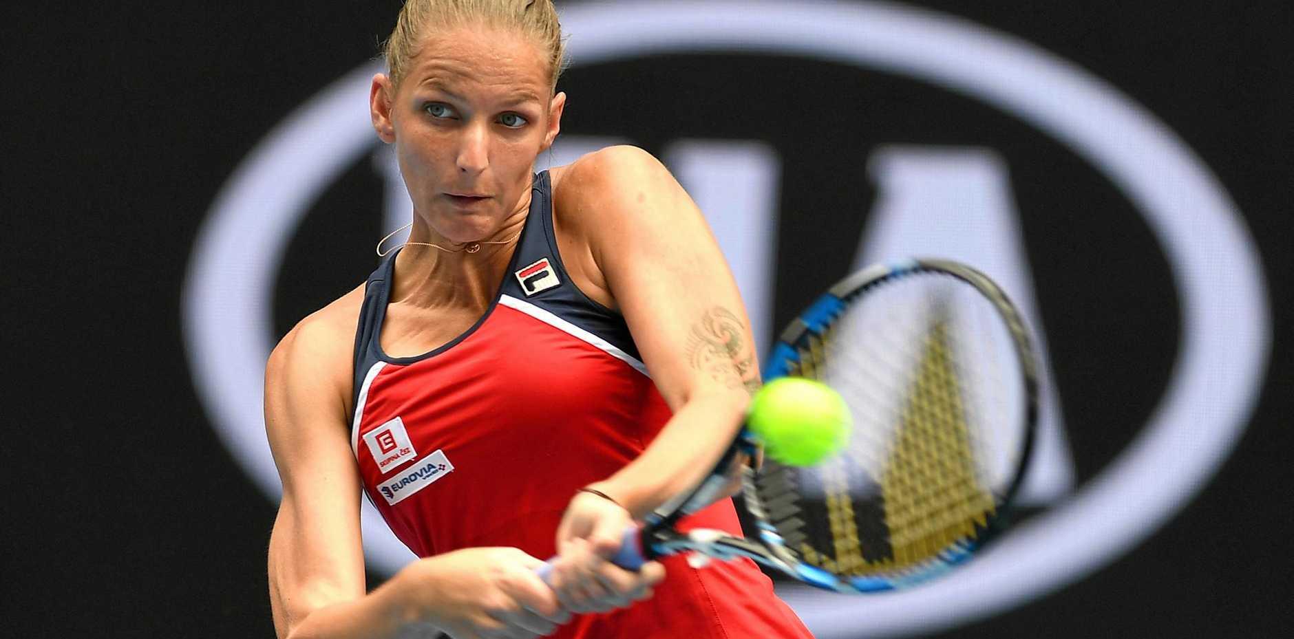 Karolina Pliskova of the Czech Republic in action against Sara Sorribes Tormo of Spain.