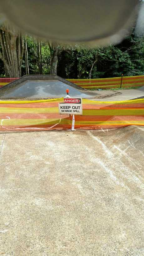 A warning sign and temporary fencing were erected around Maleny's skate park after a sewage leak was detected.