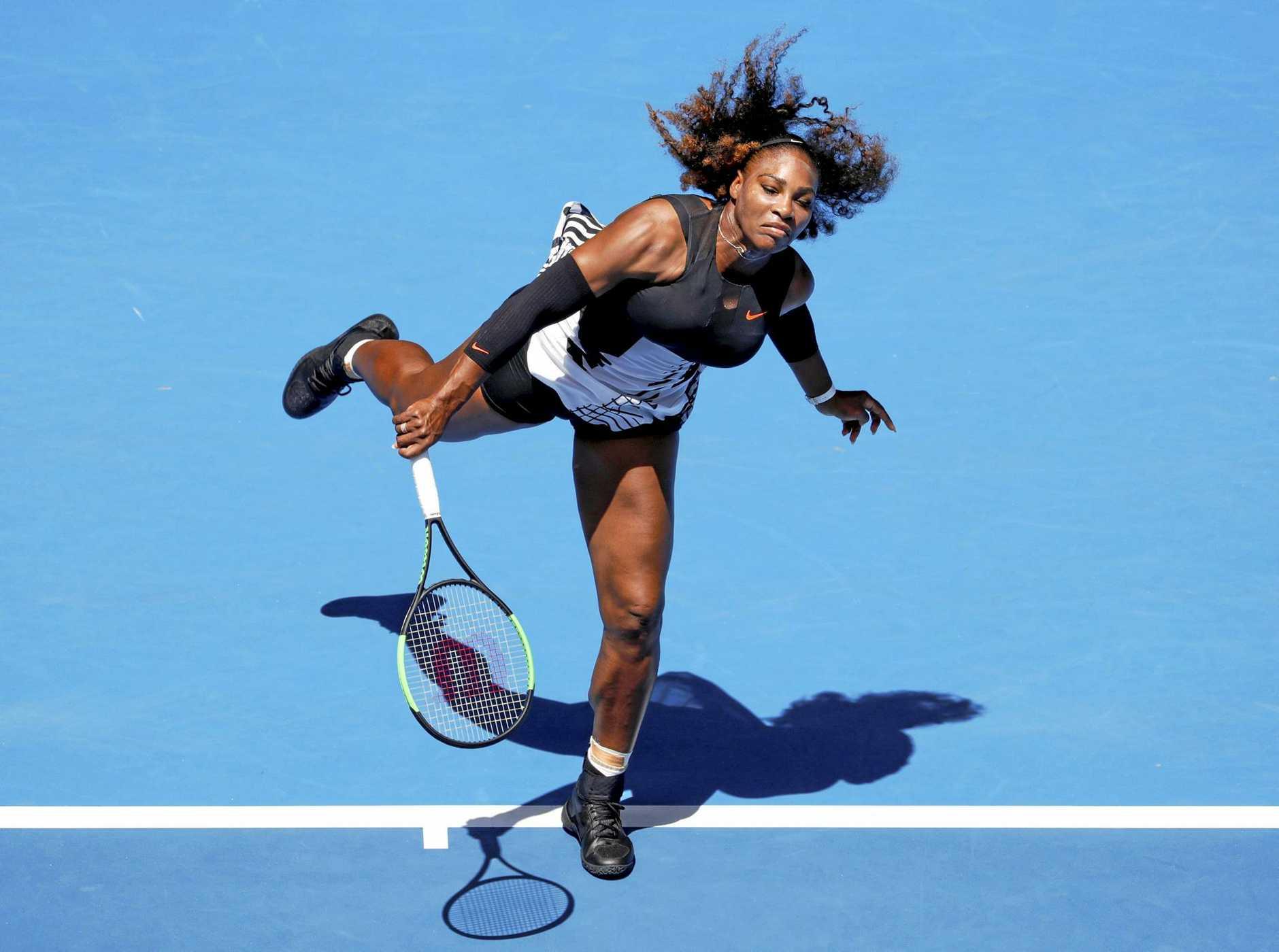 Serena Williams of the USA in action against Belinda Bencic of Switzerland.