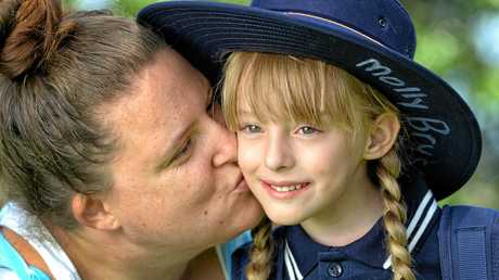 Molly Bryson is getting ready for her first day of prep at West Moreton Anglican College with her mum Krystal.