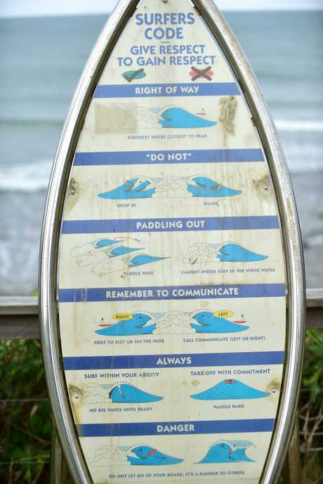 The surf etiquette sign at Alexandra Headland provides surfers with a rundown of the basic code of respect.