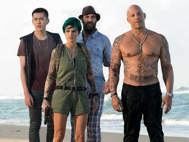 From left, Kris Wu, Ruby Rose, Rory McCann, and Vin Diesel in a scene from the movie xXx: The Return of Xander Cage.