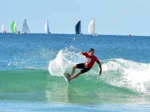 BEGINNERS TO COMPETITORS: Tim MacDonald in the final of an Alex Pro Am surfing competition.
