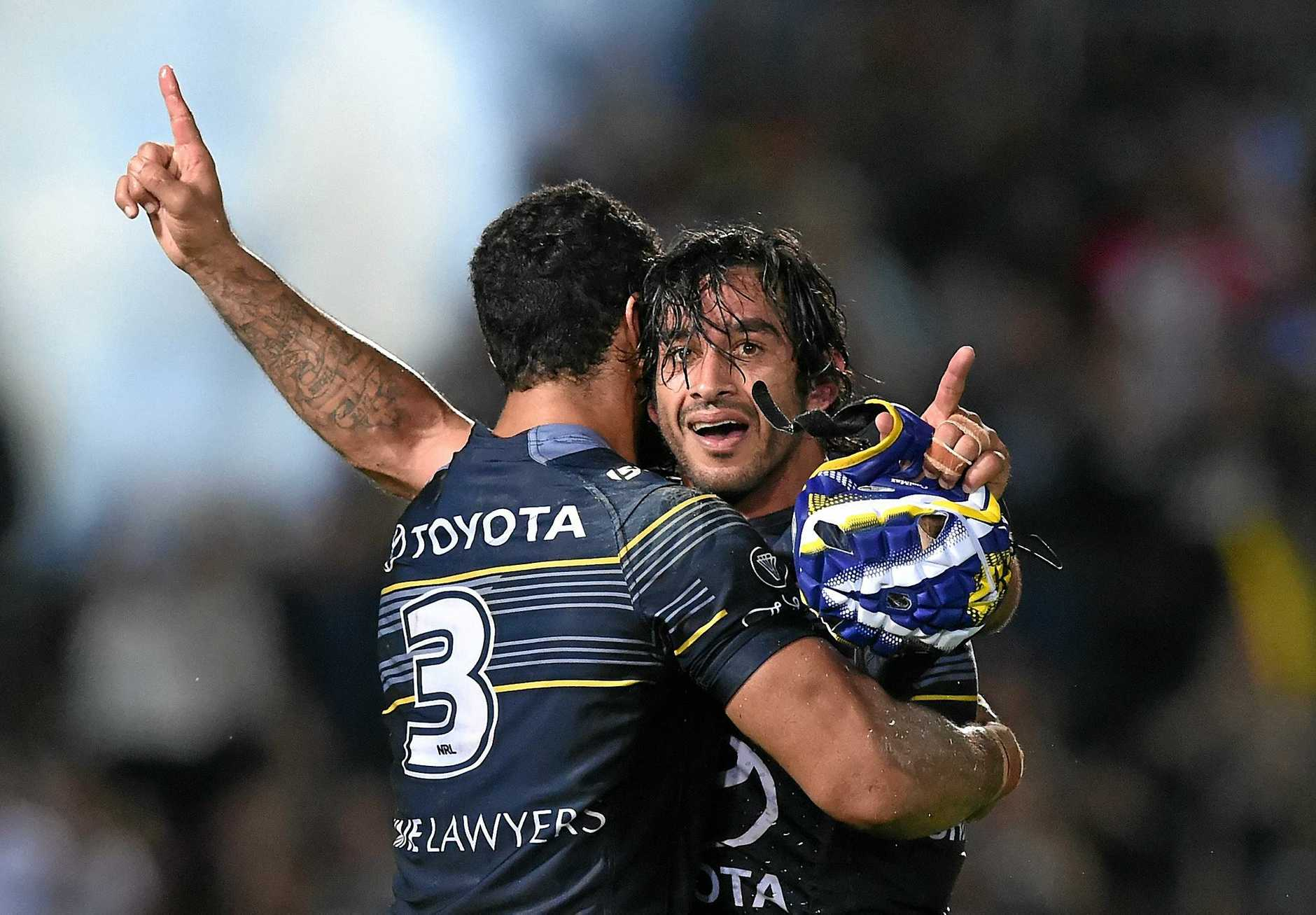 Cowboys captain Jonathan Thurston reacts after the NRL semi-final match between the North Queensland Cowboys and the Brisbane Broncos