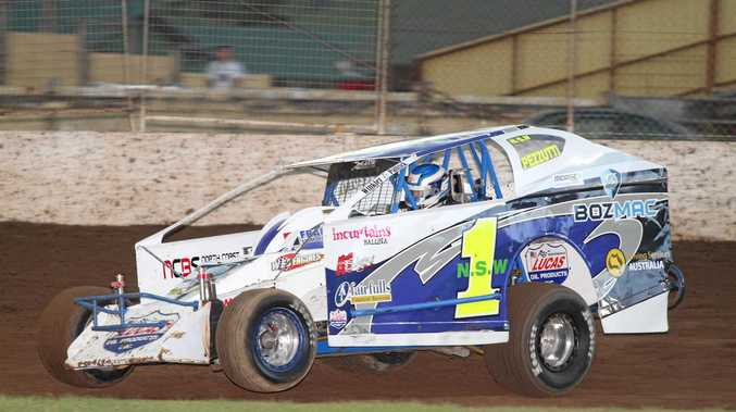 THE MASTER: Andrew Pezzutti winning the V8 Dirt Modified Masters last year at Castrol Edge Lismore Speedway.