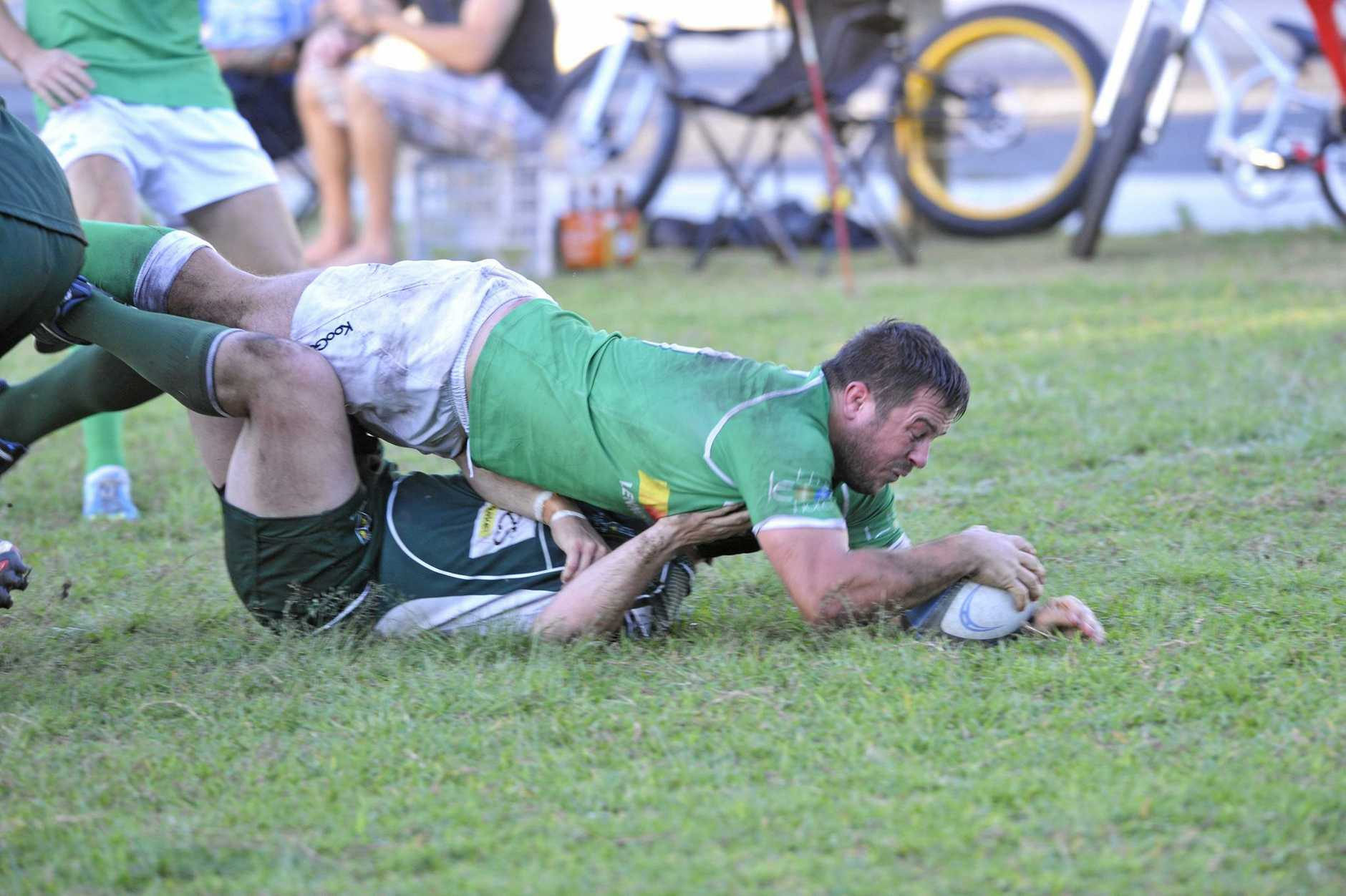 Lennox Head player Harry Witt scores a disallowed try during the game against Lismore City at Williams Reserve in Lennox Head. Photo Marc Stapelberg / The Northern Star