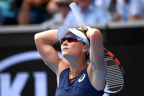 Samantha Stosur reacts during match against Heather Watson