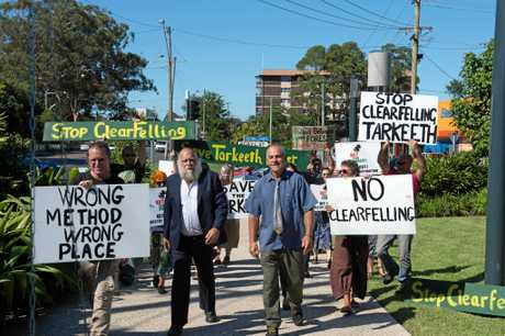 RALLY: Fellow protesters showed their support for the convicted three outside Coffs Harbour Courthouse.
