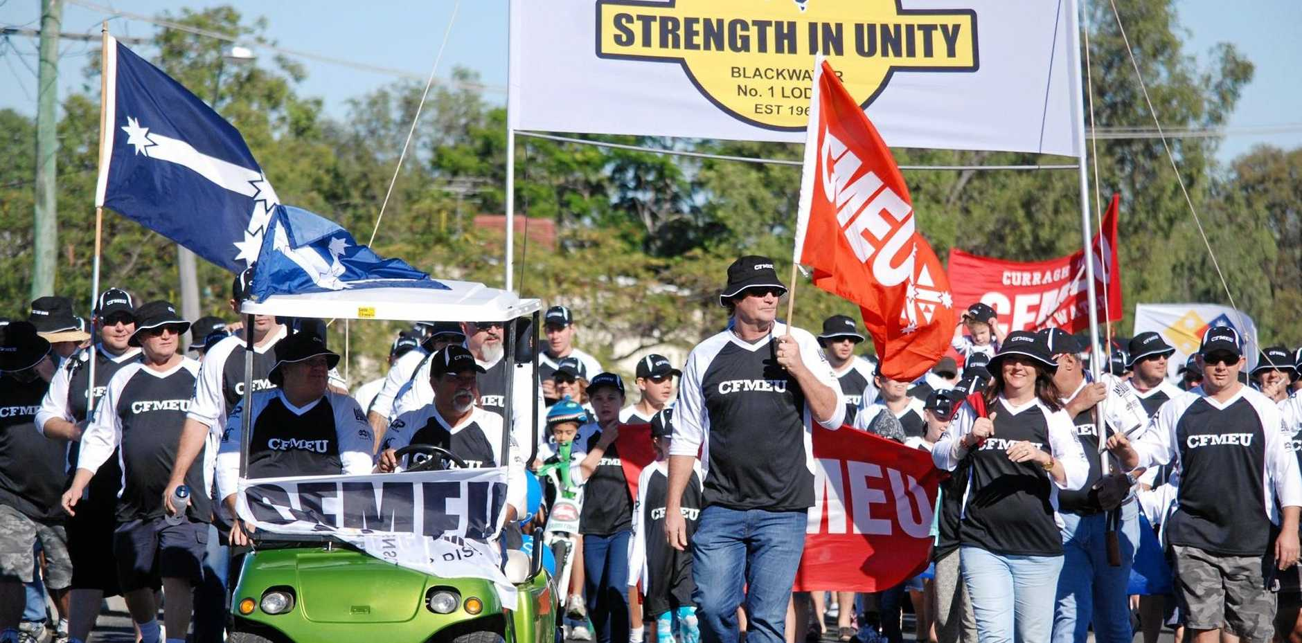 SHOWING STRENGTH: CFMEU district vice-president Glenn Power at a May Day march. Mr Power believes the rise of labour hire has contributed to declining membership.