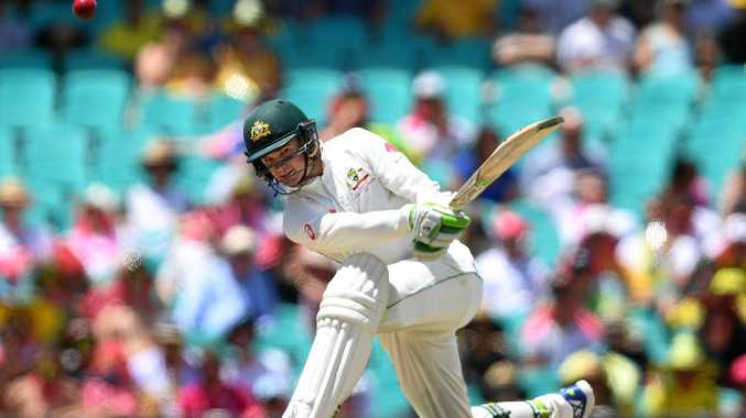 Peter Handscomb of Australia hits a four during the third Test against Pakistan.