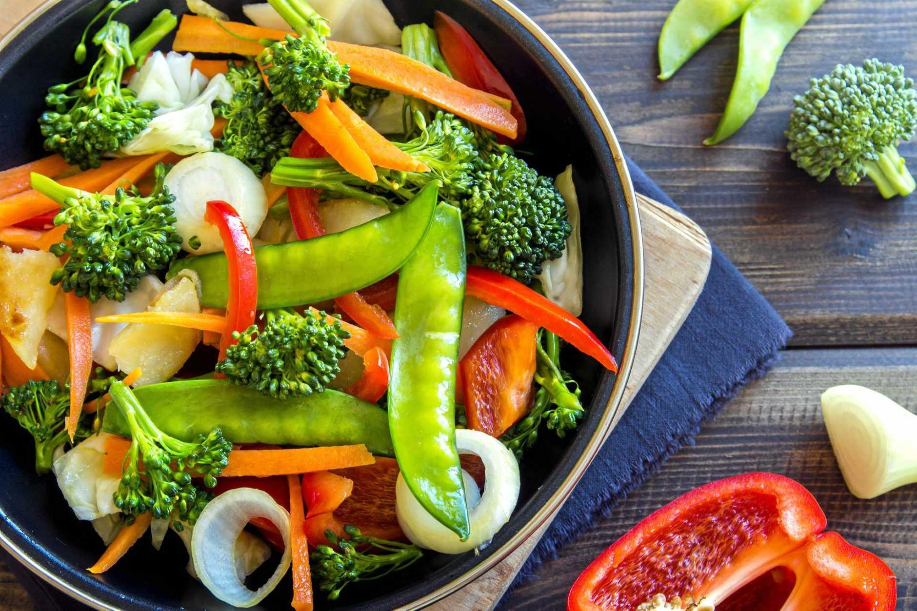 Healthy stir fried vegetables in the pan