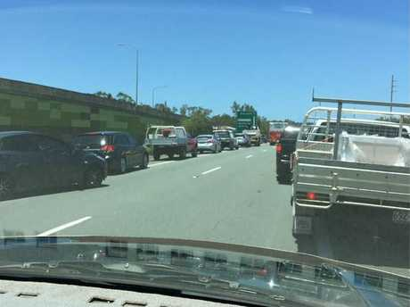 Congestion on the Sunshine Motorway caused by a truck rollover.