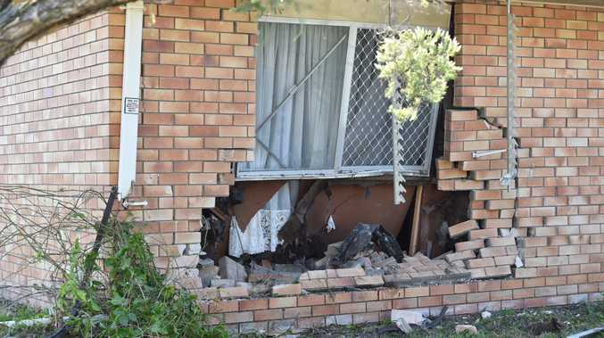 Damage to a house at the corner of Pulgul and Miller streets in Urangan after a 4WD ran into the bedroom.