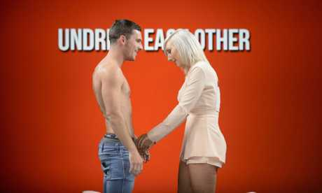 Buderim local Jackson pictured with his blind date Candice in a scene from SBS's new dating show Undressed. Supplied by SBS TV.