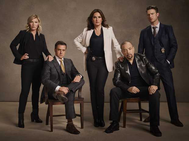 The cast of Law & Order: SVU season 18, from left, Kelli Giddish, Raul Esparza, Mariska Hargitay, Ice-T and Peter Scanavino. Supplied by Channel 10.