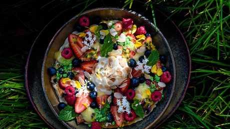 Local Perfection Fresh blueberry pancake with new season Eden Farms raspberries, Bundy lime curd, Tinaberries camarosa strawberries and Mammino's lemon yogurt icecream..